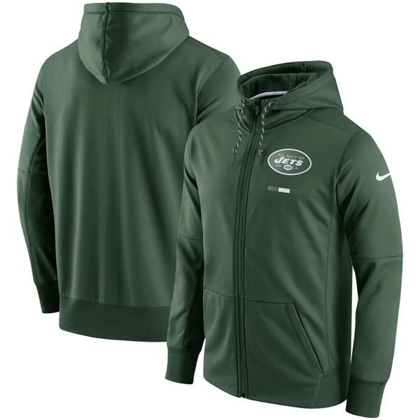 お取り寄せ NFL ジェッツ サイドライン ロゴ パフォーマンス フルジップ パーカー ナイキ/Nike グリーン