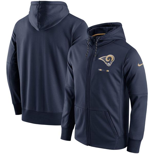 NFL ラムズ サイドライン ロゴ パフォーマンス フルジップ パーカー ナイキ/Nike ネイビー