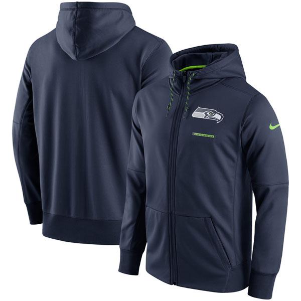 お取り寄せ NFL シーホークス サイドライン ロゴ パフォーマンス フルジップ パーカー ナイキ/Nike ネイビー