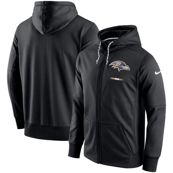 お取り寄せ NFL レイブンズ サイドライン ロゴ パフォーマンス フルジップ パーカー ナイキ/Nike ブラック