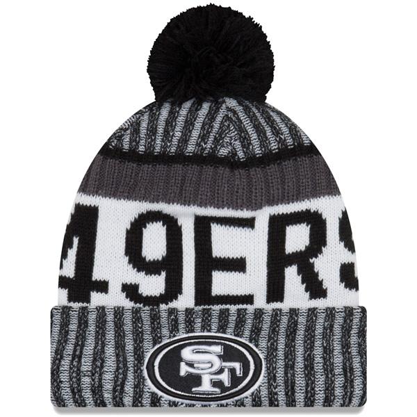 NFL 49ers 2017 サイドライン コールドウェザー スポーツ ニットキャップ/帽子 ニューエラ/New Era ブラック/ホワイト