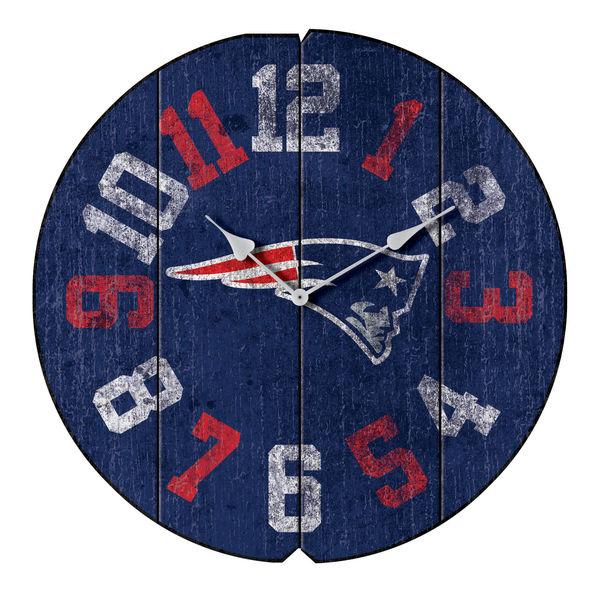 お取り寄せ NFL ペイトリオッツ ヴィンテージ ラウンド ウォールクロック/壁掛け時計 ブルー