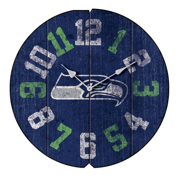お取り寄せ NFL シーホークス ヴィンテージ ラウンド ウォールクロック/壁掛け時計 ブルー