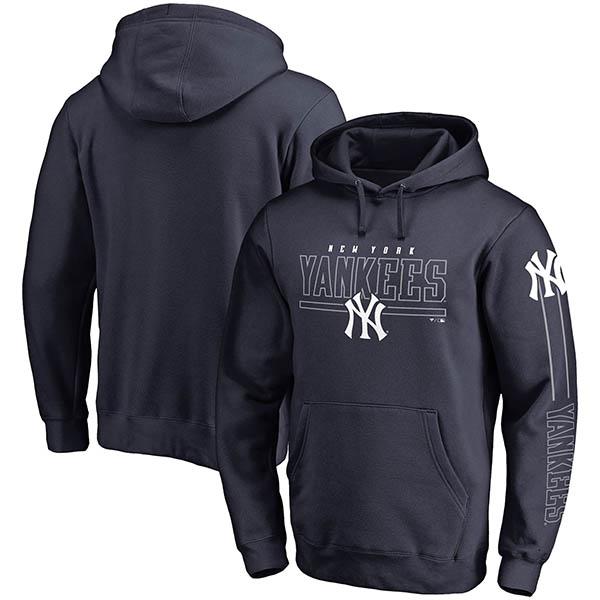 お取り寄せ MLB ヤンキース フロント ライン プルオーバー パーカー ネイビー