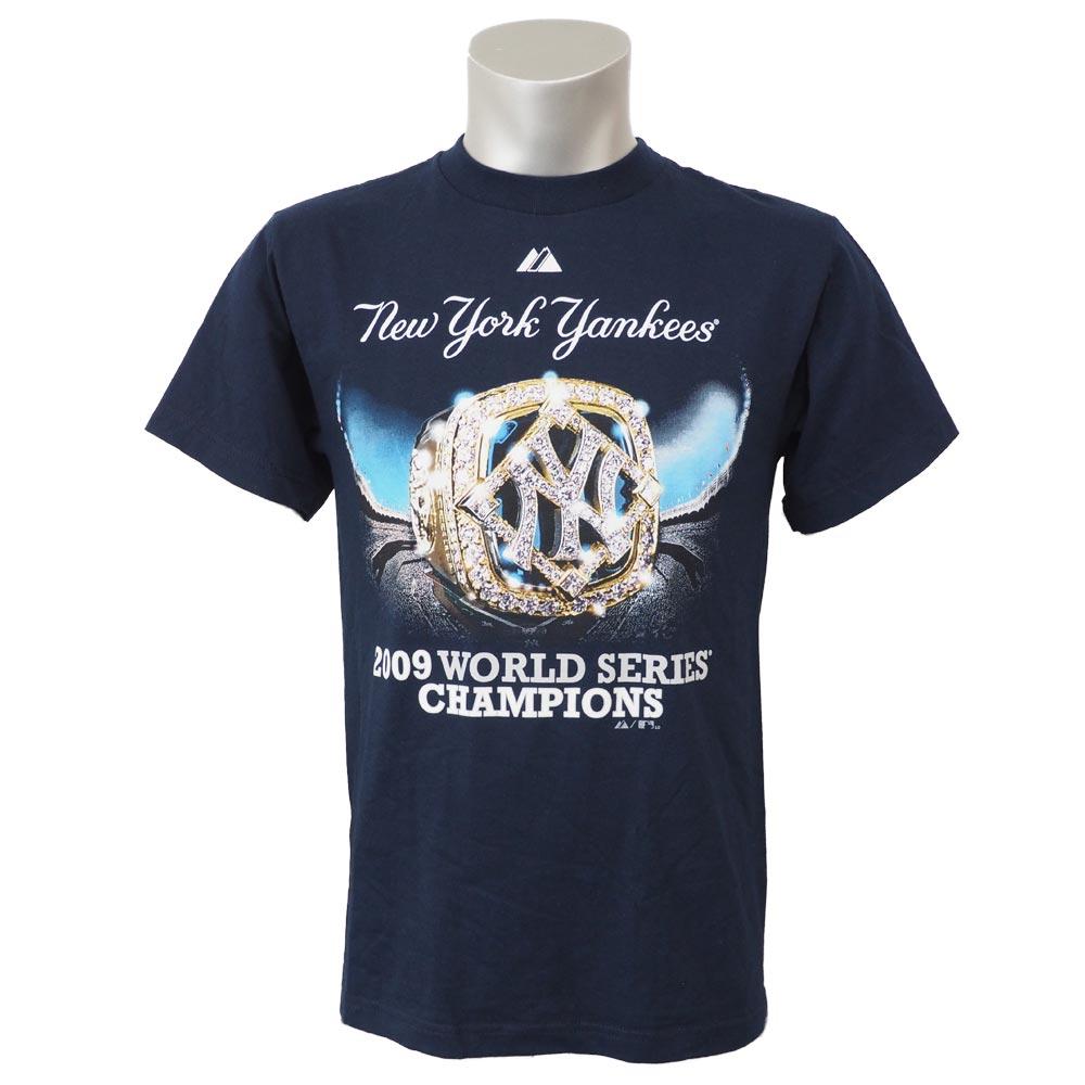 MLB ヤンキース 2009 ワールドシリーズ チャンピオンズ リング Tシャツ マジェスティック/Majestic ネイビー レアアイテム