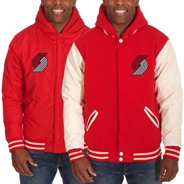 お取り寄せ NBA トレイルブレイザーズ メンズ リバーシブル フリース フォーレザー ジャケット JH デザイン/JH Design レッド