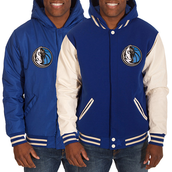 お取り寄せ NBA マーベリックス メンズ リバーシブル フリース フォーレザー ジャケット JH デザイン/JH Design ロイヤル