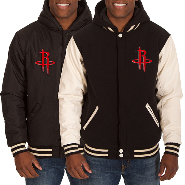 お取り寄せ NBA ロケッツ メンズ リバーシブル フリース フォーレザー ジャケット JH デザイン/JH Design ブラック