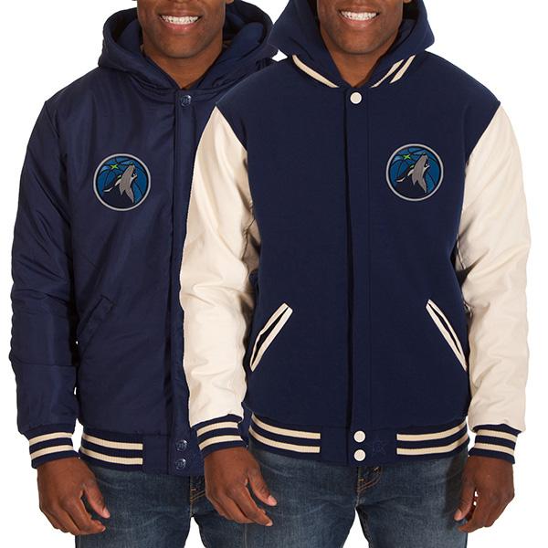 お取り寄せ NBA ティンバーウルブズ メンズ リバーシブル フリース フォーレザー ジャケット JH デザイン/JH Design ブラック