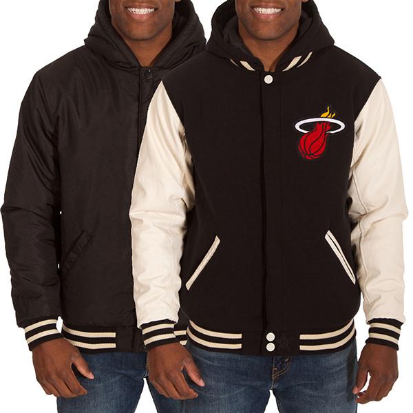 お取り寄せ NBA ヒート メンズ リバーシブル フリース フォーレザー ジャケット JH デザイン/JH Design ブラック