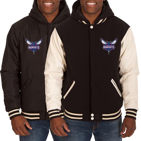 お取り寄せ NBA ホーネッツ メンズ リバーシブル フリース フォーレザー ジャケット JH デザイン/JH Design ブラック