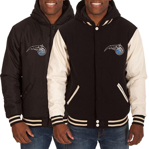 お取り寄せ NBA マジック メンズ リバーシブル フリース フォーレザー ジャケット JH デザイン/JH Design ブラック