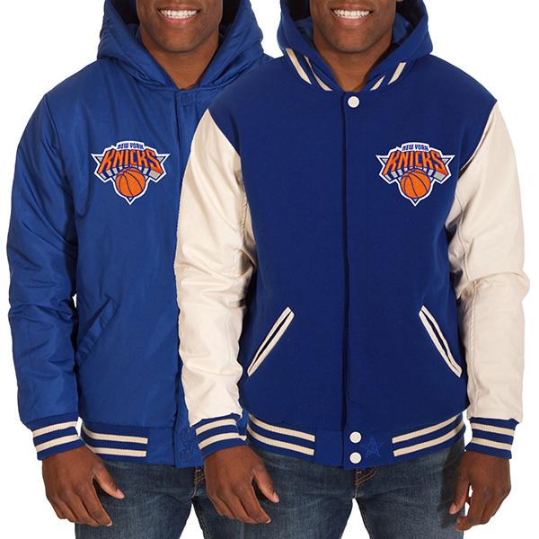 お取り寄せ NBA ニックス メンズ リバーシブル フリース フォーレザー ジャケット JH デザイン/JH Design ロイヤル