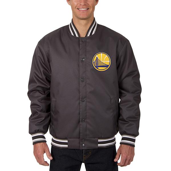 お取り寄せ NBA ウォリアーズ メンズ ポリツイル ロゴ ジャケット JH デザイン/JH Design チャコール