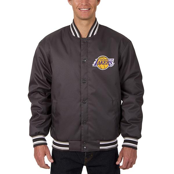 お取り寄せ NBA レイカーズ メンズ ポリツイル ロゴ ジャケット JH デザイン/JH Design チャコール