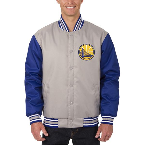 お取り寄せ NBA ウォリアーズ メンズ ポリツイル ロゴ ジャケット JH デザイン/JH Design グレー