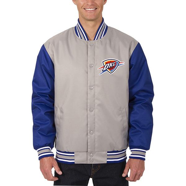 お取り寄せ NBA サンダー メンズ ポリツイル ロゴ ジャケット JH デザイン/JH Design グレー