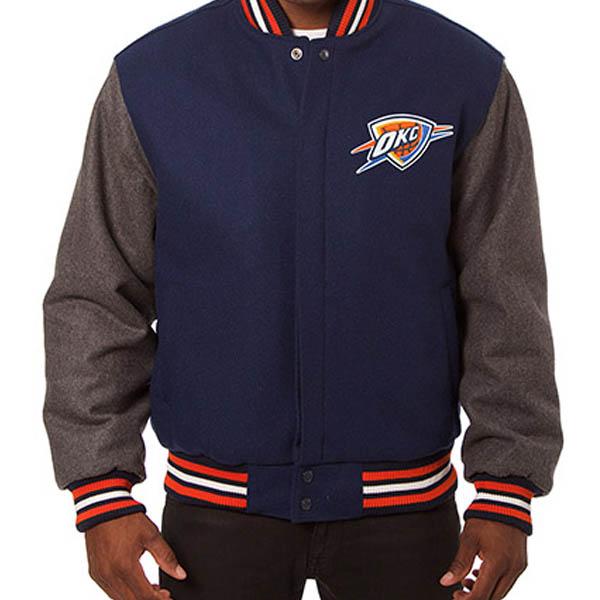 お取り寄せ NBA サンダー メンズ ドメスティック ツートーン ウール ジャケット JH デザイン/JH Design ネイビー