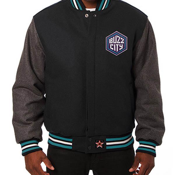 お取り寄せ NBA ホーネッツ メンズ ドメスティック ツートーン ウール ジャケット JH デザイン/JH Design ブラック