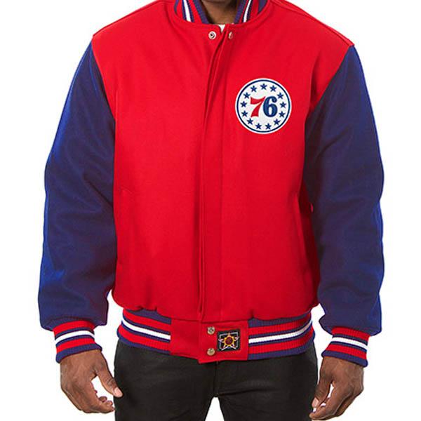 お取り寄せ NBA 76ers メンズ ドメスティック ツートーン ウール ジャケット JH デザイン/JH Design レッド