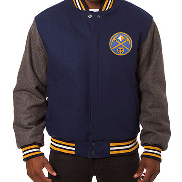 お取り寄せ NBA ナゲッツ メンズ ドメスティック ツートーン ウール ジャケット JH デザイン/JH Design ネイビー