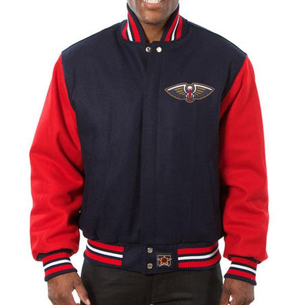 お取り寄せ NBA ペリカンズ メンズ ドメスティック ツートーン ウール ジャケット JH デザイン/JH Design ネイビー
