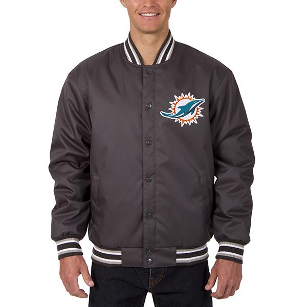 お取り寄せ NFL ドルフィンズ メンズ ポリツイル ジャケット JH デザイン/JH Design チャコール