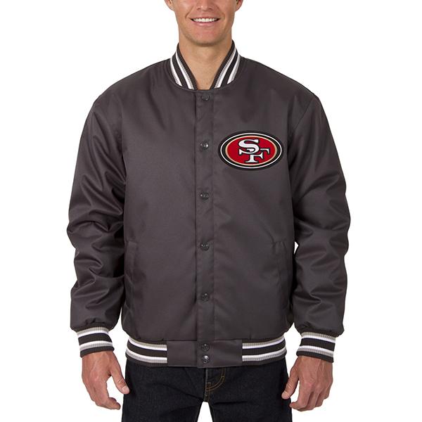 NFL 49ers メンズ ポリツイル ジャケット JH デザイン/JH Design チャコール