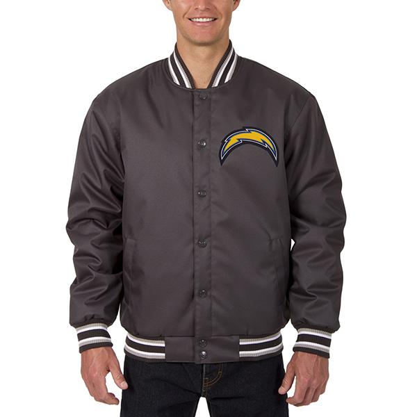 NFL チャージャーズ メンズ ポリツイル ジャケット JH デザイン/JH Design チャコール