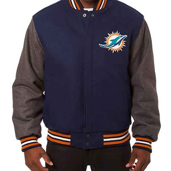 お取り寄せ NFL ドルフィンズ メンズ ドメスティック ツートーン ウール ジャケット JH デザイン/JH Design Navy/Gray