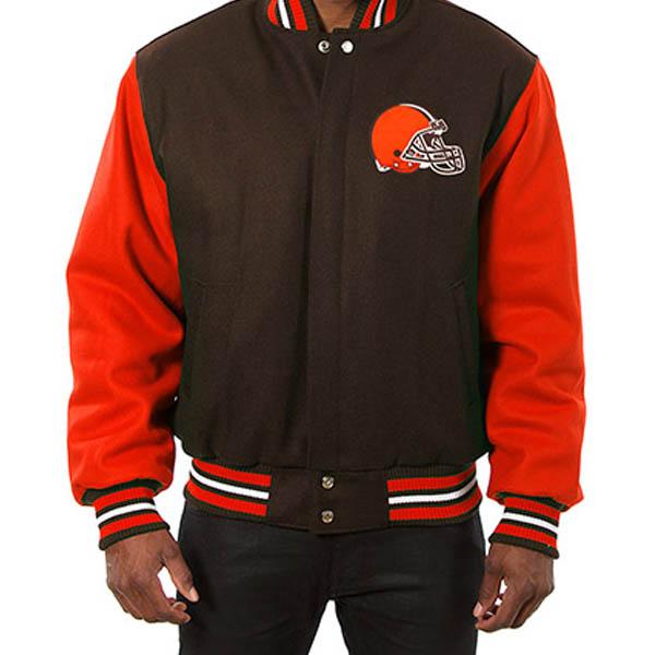 NFL ブラウンズ メンズ ドメスティック ツートーン ウール ジャケット JH デザイン/JH Design ブラウン