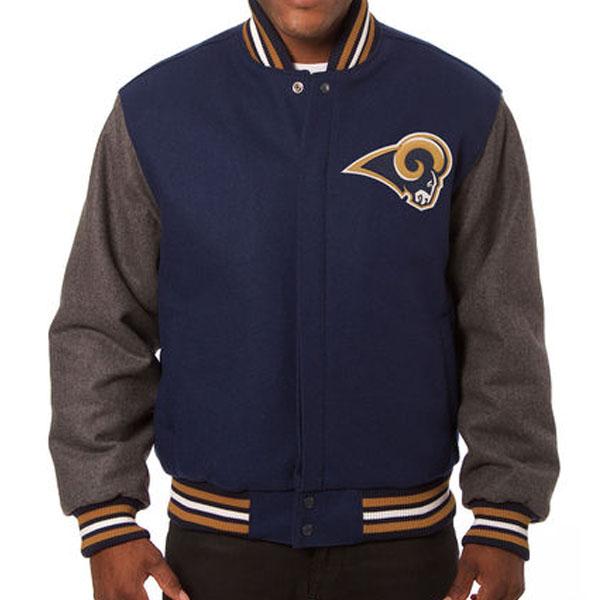 お取り寄せ NFL ラムズ メンズ ドメスティック ツートーン ウール ジャケット JH デザイン/JH Design ネイビー