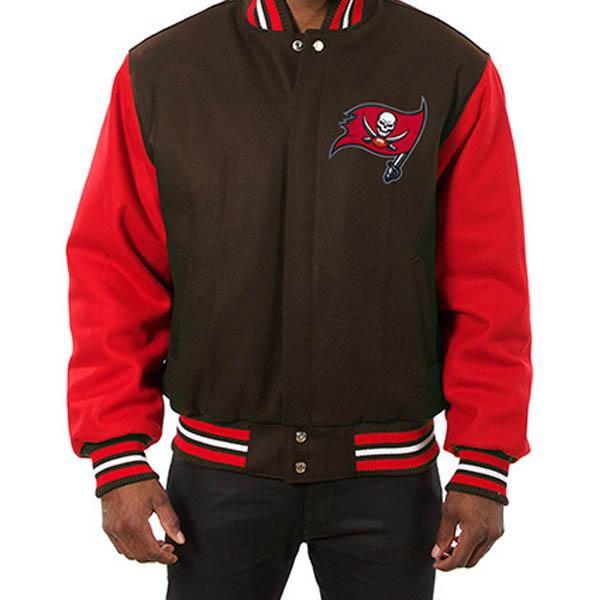 お取り寄せ NFL バッカニアーズ メンズ ドメスティック ツートーン ウール ジャケット JH デザイン/JH Design ブラウン
