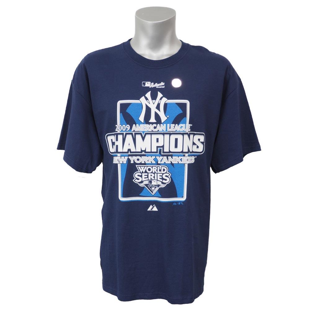 MLB ヤンキース 2009 アメリカン・リーグ チャンピオンズ Tシャツ マジェスティック/Majestic ネイビー レアアイテム