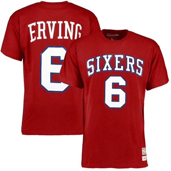 お取り寄せ NBA 76ers ジュリアス・アービング ハードウッドクラシック レトロ ネーム & ナンバー Tシャツ Mitchell & Ness レッド
