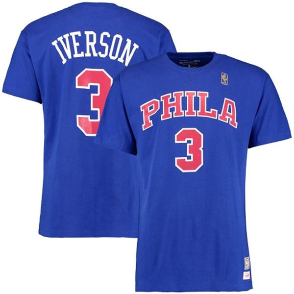 お取り寄せ NBA 76ers アレン・アイバーソン ハードウッドクラシック レトロ ネーム & ナンバー Tシャツ Mitchell & Ness ロイヤル