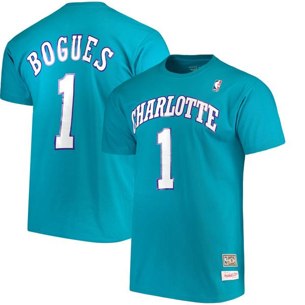 お取り寄せ NBA ホーネッツ マグシー・ボーグス ハードウッドクラシック レトロ ネーム & ナンバー Tシャツ Mitchell & Ness ティール