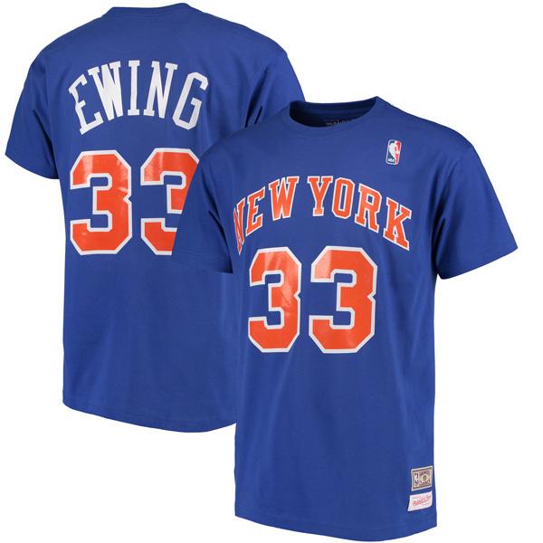 お取り寄せ NBA ニックス パトリック・ユーイング ハードウッドクラシック レトロ ネーム & ナンバー Tシャツ Mitchell & Ness ロイヤル