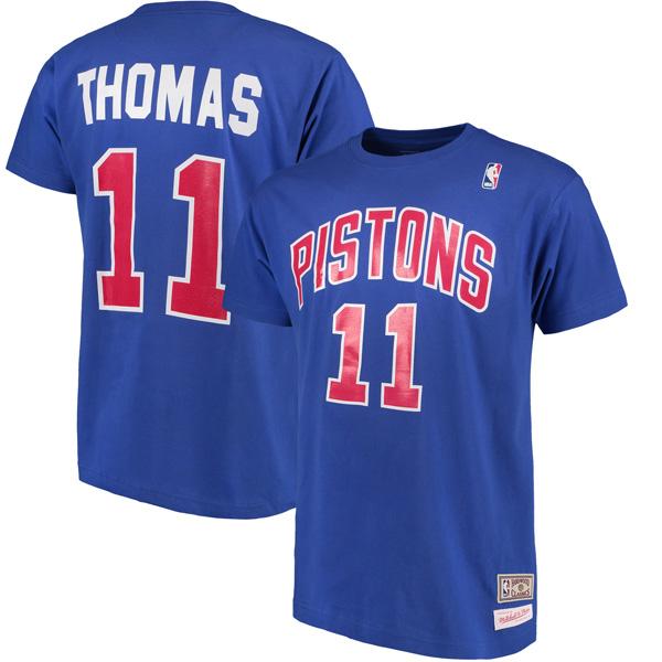 NBA ピストンズ アイザイア・トーマス ハードウッドクラシック レトロ ネーム & ナンバー Tシャツ Mitchell & Ness ロイヤル