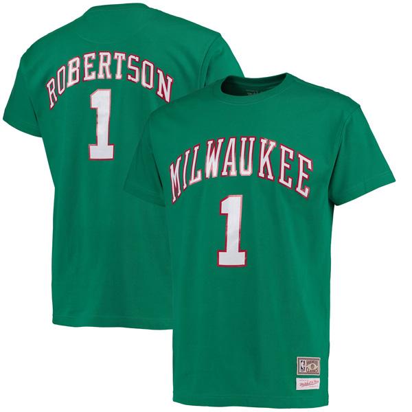 お取り寄せ NBA バックス オスカー・ロバートソン ハードウッドクラシック レトロ ネーム & ナンバー Tシャツ Mitchell & Ness ケリーグリーン