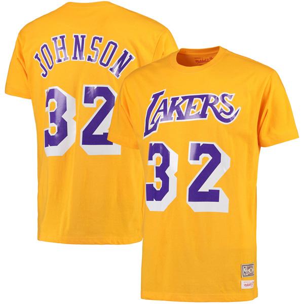 お取り寄せ NBA レイカーズ マジック・ジョンソン ハードウッドクラシック レトロ ネーム & ナンバー Tシャツ Mitchell & Ness ゴールド