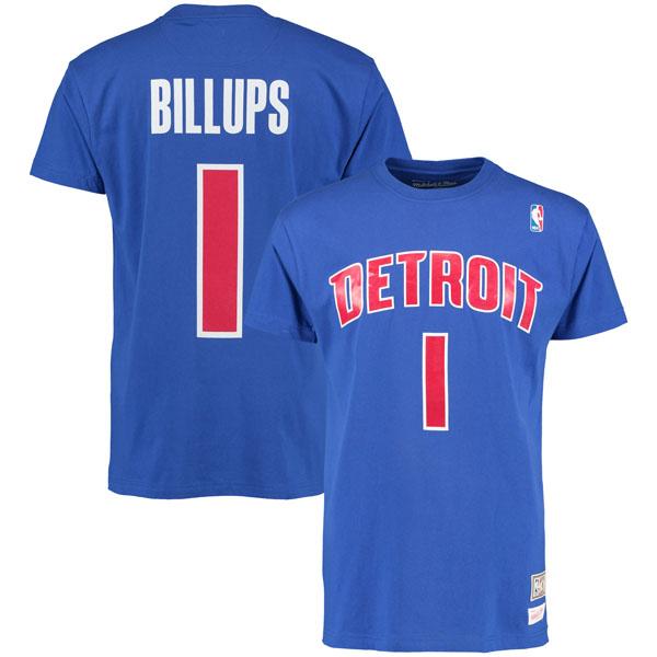 お取り寄せ NBA ピストンズ チャンシー・ビラップス ハードウッドクラシック レトロ ネーム & ナンバー Tシャツ Mitchell & Ness ブルー