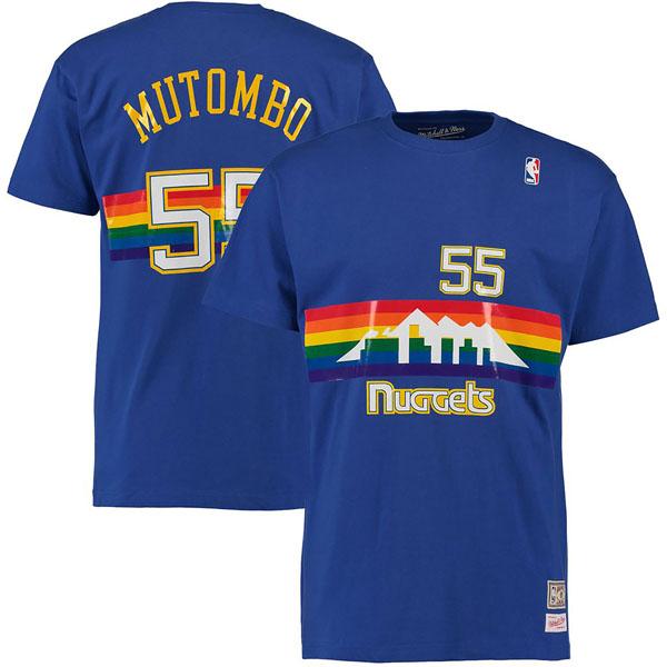 お取り寄せ NBA ナゲッツ ディケンベ・ムトンボ ハードウッドクラシック レトロ ネーム & ナンバー Tシャツ Mitchell & Ness ロイヤル