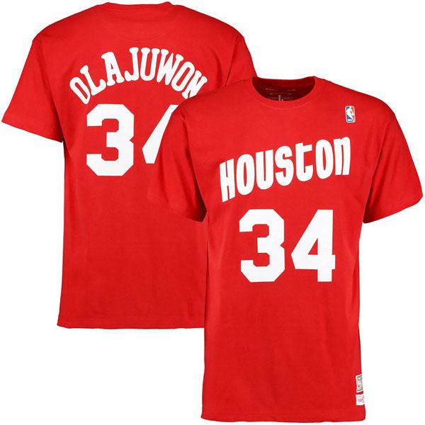 お取り寄せ NBA ロケッツ アキーム・オラジュワン ハードウッドクラシック レトロ ネーム & ナンバー Tシャツ Mitchell & Ness レッド