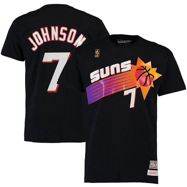 お取り寄せ NBA サンズ ケビン・ジョンソン ハードウッドクラシック レトロ ネーム & ナンバー Tシャツ Mitchell & Ness ブラック