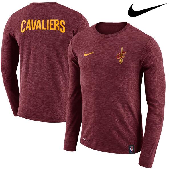お取り寄せ NBA Nike/ナイキ キャバリアーズ ファシリティ ロングスリーブ Tシャツ ワイン