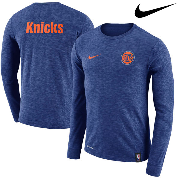 お取り寄せ NBA Nike/ナイキ ニックス ファシリティ ロングスリーブ Tシャツ ブルー