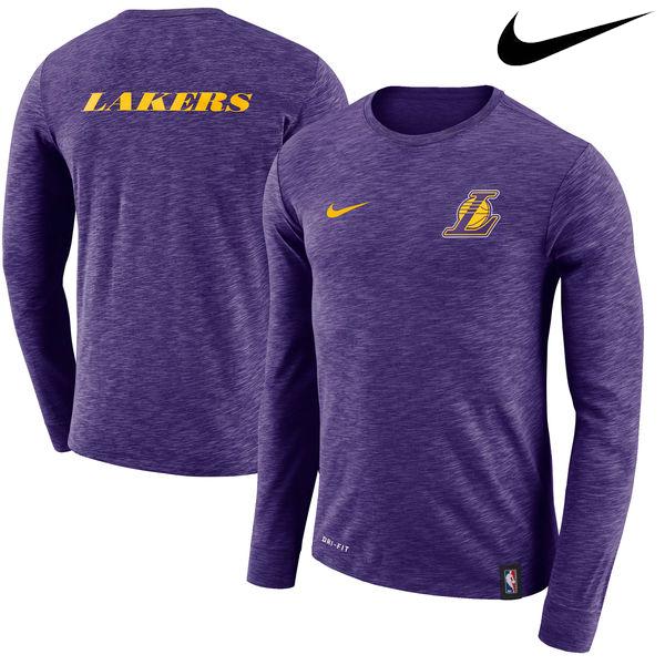 お取り寄せ NBA Nike/ナイキ レイカーズ ファシリティ ロングスリーブ Tシャツ パープル