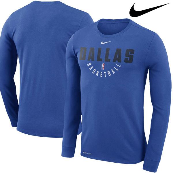 お取り寄せ NBA Nike/ナイキ マーベリックス プラクティス ロングスリーブ パフォーマンス Tシャツ ブルー