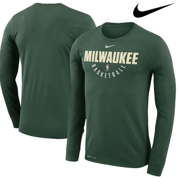 お取り寄せ NBA Nike/ナイキ バックス プラクティス ロングスリーブ パフォーマンス Tシャツ グリーン